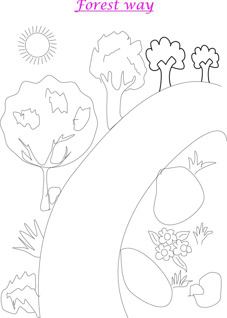 kids coloring pages scenery hill - photo#5