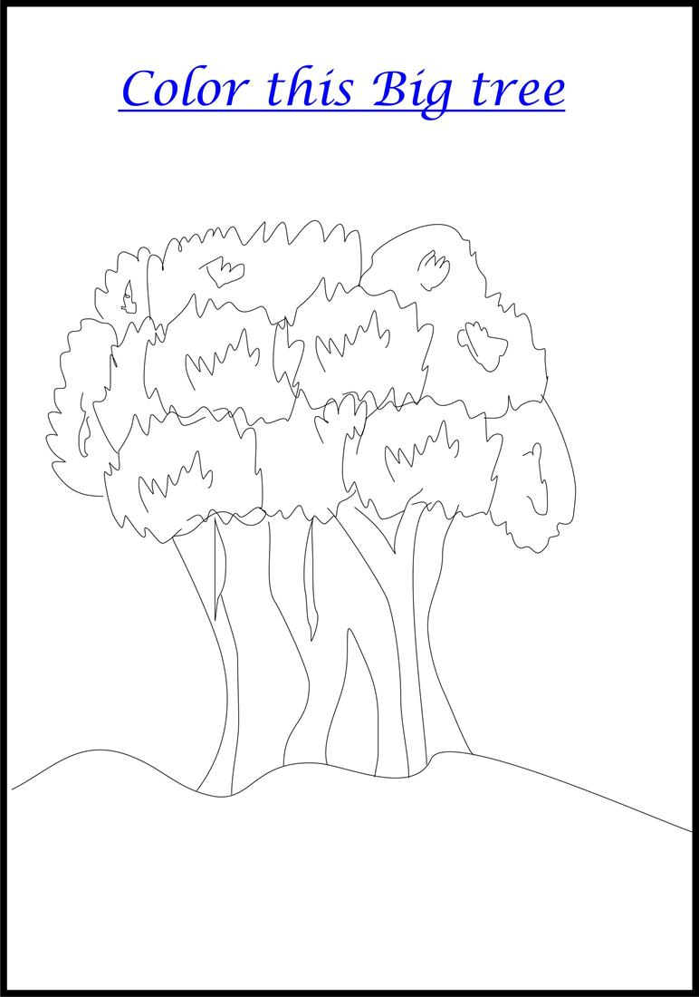 Big Tree Coloring Printable Page For Kids