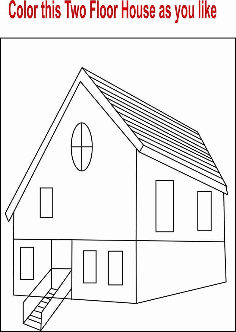 House Coloring Pages Pdf : Two floor house coloring page printable