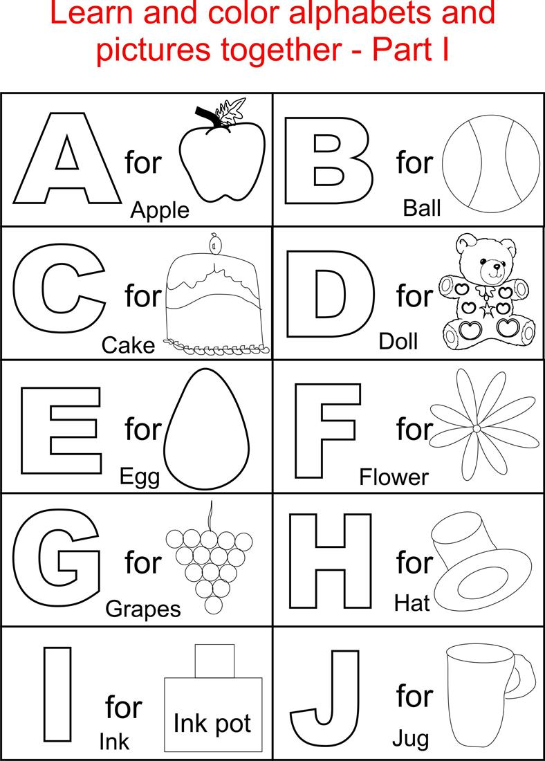 Alphabet part i coloring printable page for kids for Alphabet coloring pages for kids