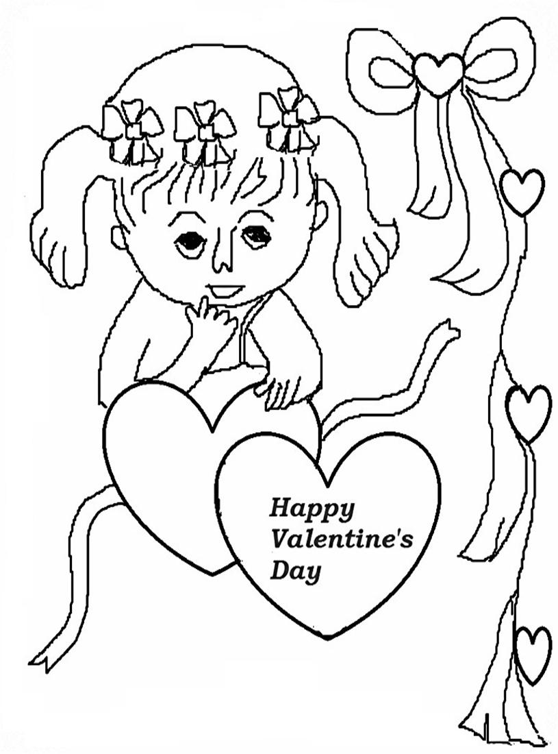 Valentines Coloring Pages Pdf : Valentines day coloring printable page for kids