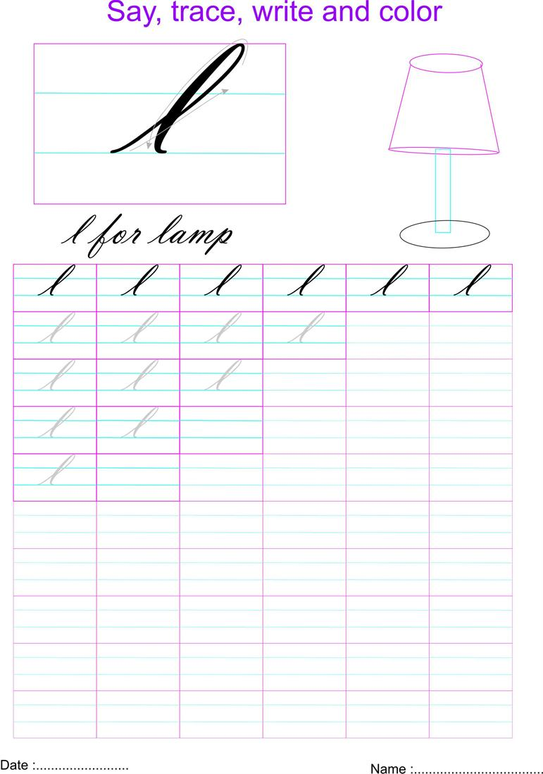 Cursive Writing Worksheet Letter A In Addition Math Worksheet Template ...
