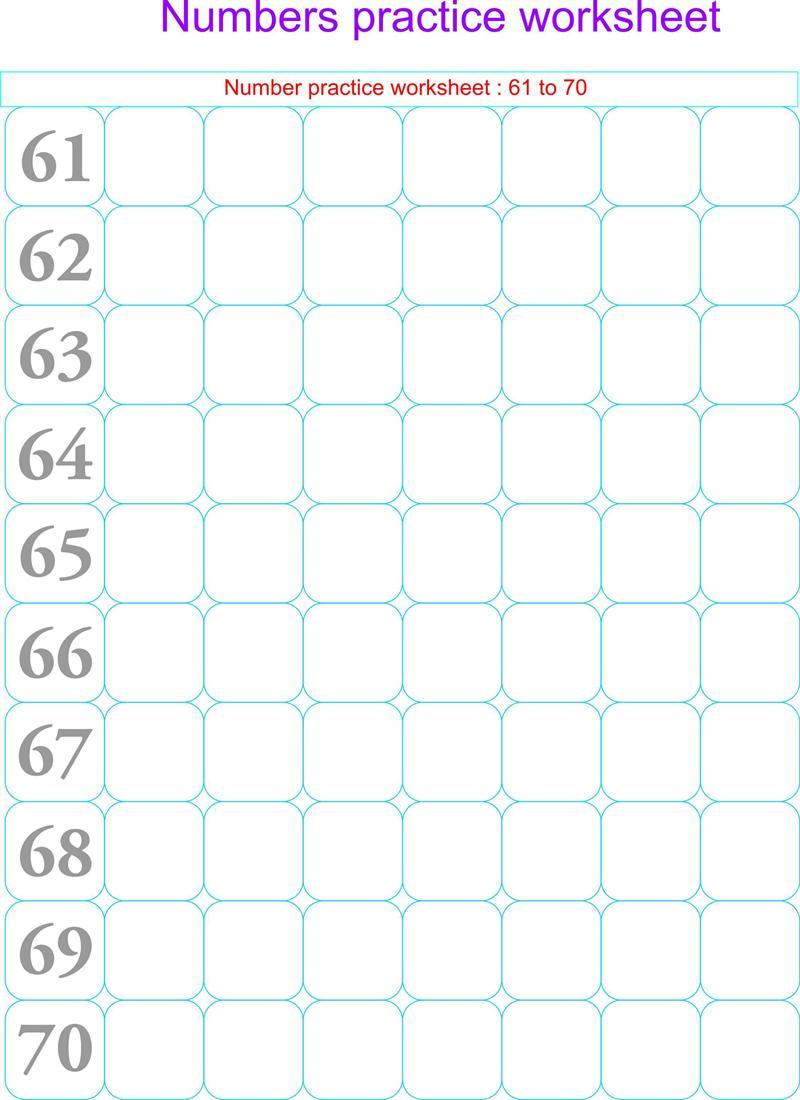 Numbers practice worksheets - 61 - 70