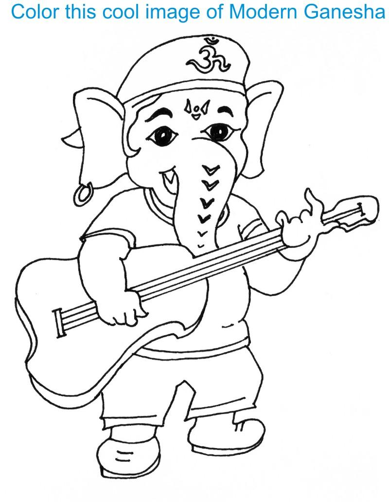 Ganesh chaturthi free coloring pages for Ganesha coloring pages