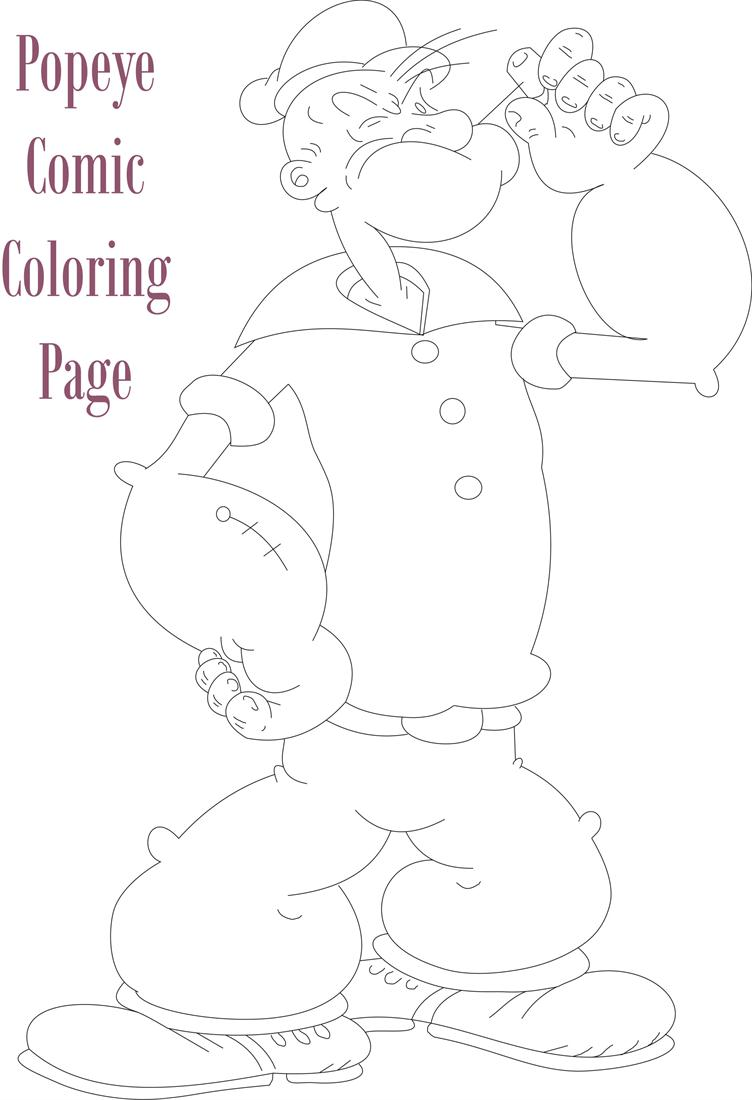 Popeye comic character coloring page for Popeye coloring pages