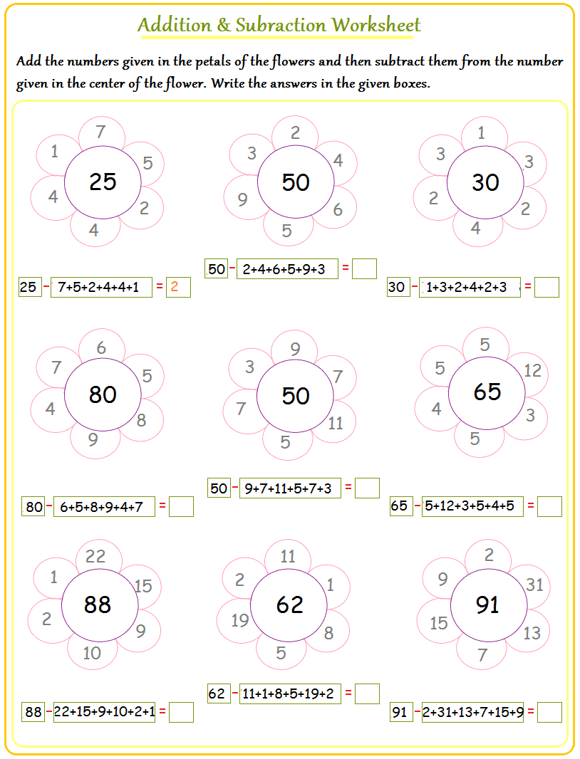basic addition and subtraction worksheets – Adding and Subtraction Worksheets