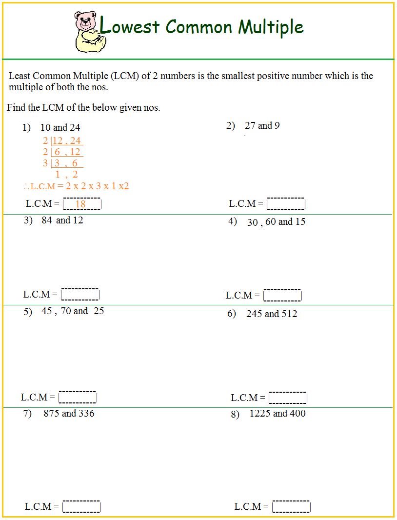 Hcf lcm homework – Least Common Multiple Worksheets