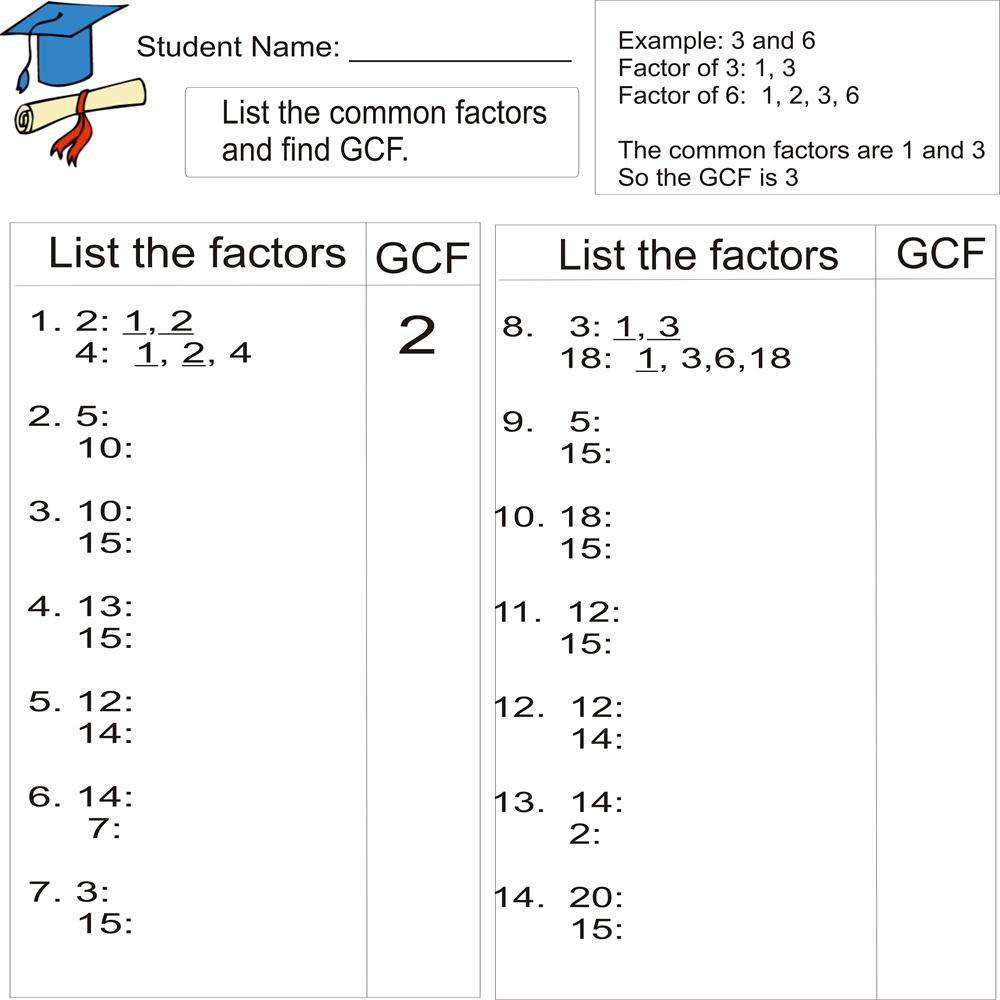 worksheet Greatest Common Factor And Least Common Multiple Worksheet gcf worksheets 6th grade abitlikethis greatest common factor 1to 20