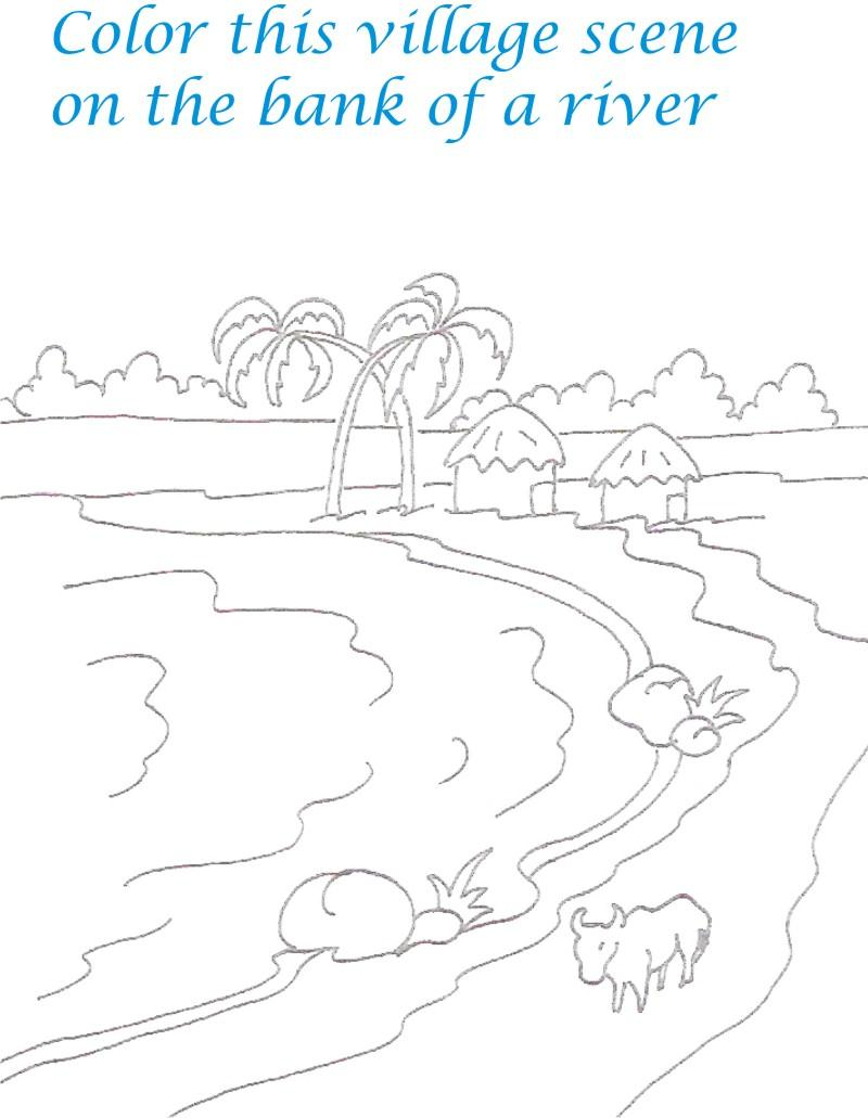 kids coloring pages scenery hill - photo#26
