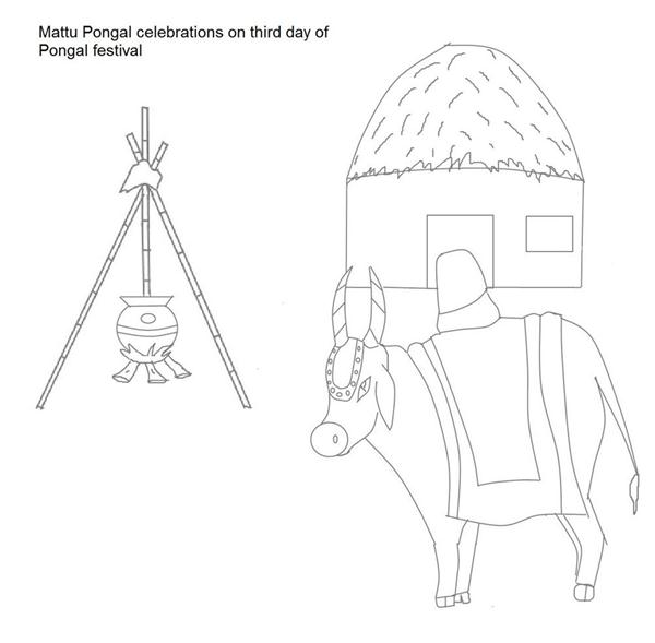 coloring. Download Mattu Pongal celebration coloring page for coloring ...