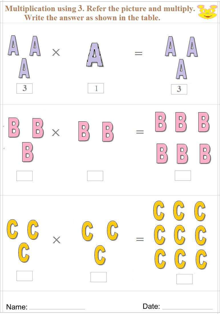 Maths worksheet for learning Multiplication 7