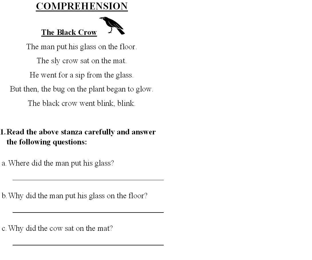 Worksheet Comprehension Exercises For Grade 1 worksheet for grade 1 english grammar pd worksheets free grammar