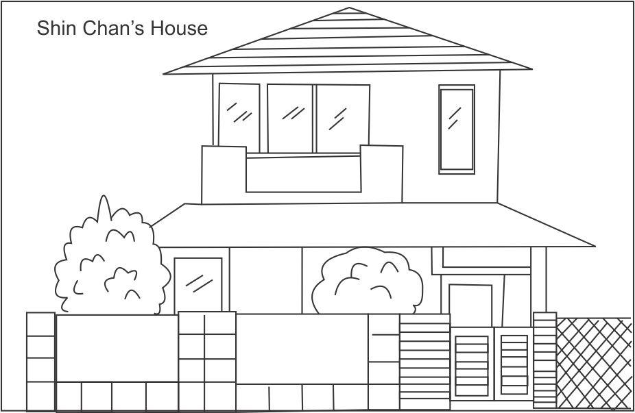 Shin chan 39 s house coloring page for kids for House drawing easy