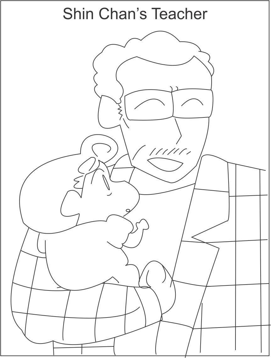 Shin chan 39 s principal coloring page for kids for Shin chan coloring pages