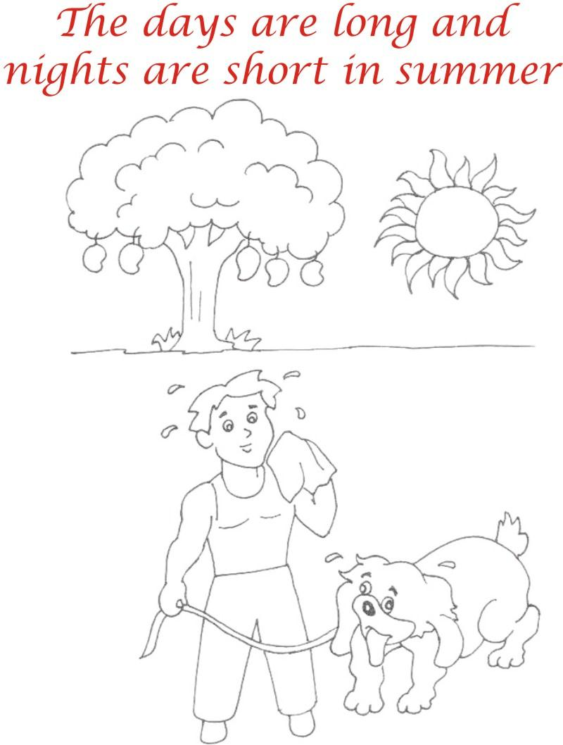 Summer Season Coloring Printable Page3 For Kids