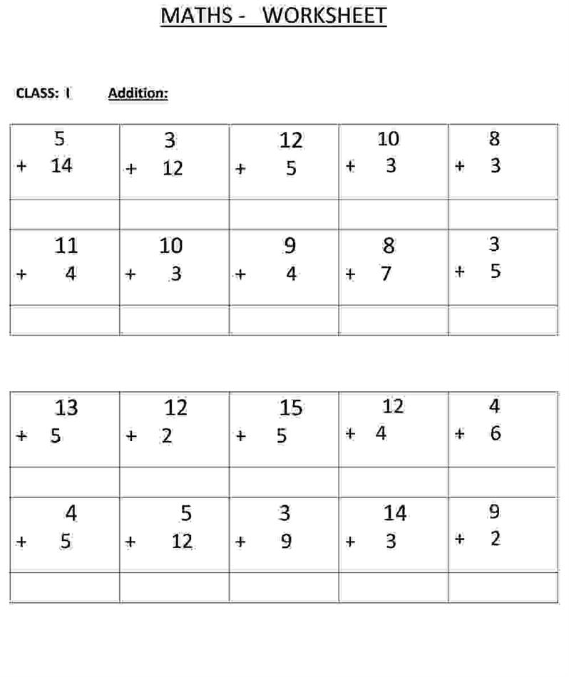 Maths Worksheets For Class 2 Templates and Worksheets – Math Worksheet for Class 1