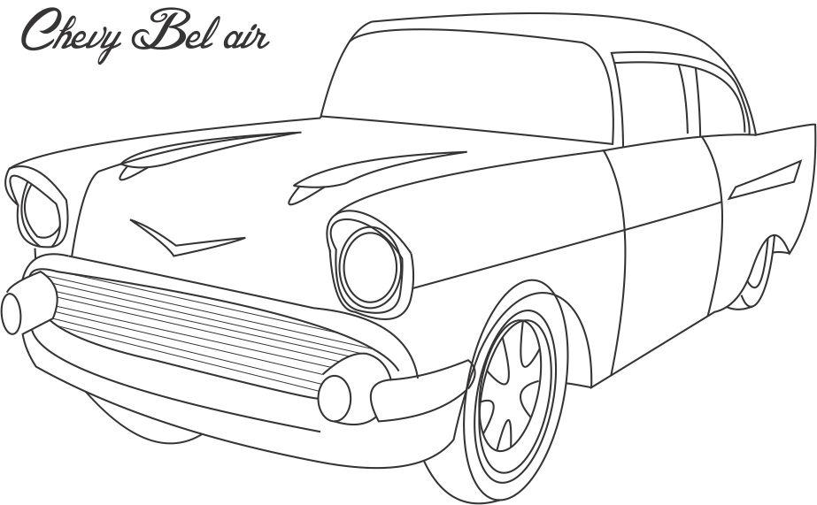 7609 Chevy Bel Air Coloring Printable Page For Kids