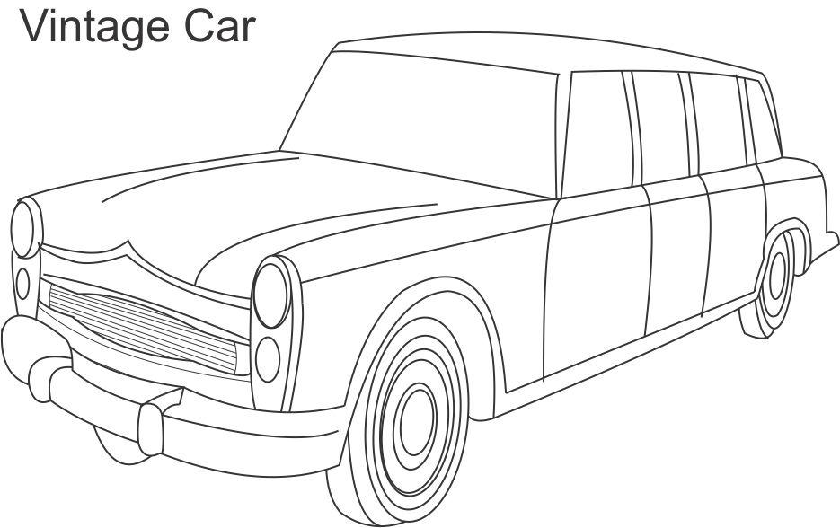 Vintage Car Coloring Pages : Vintage car coloring printable page for kids