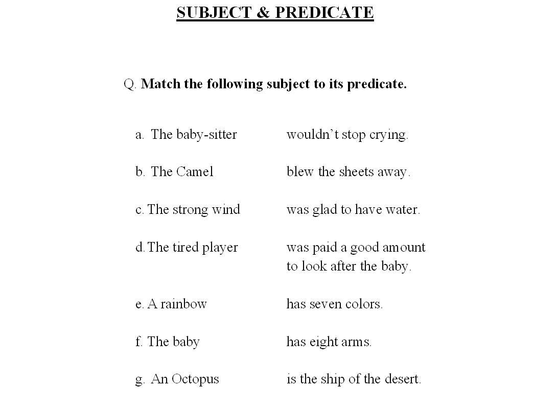Simple Subject Predicate Worksheets – Simple Subject and Predicate Worksheets