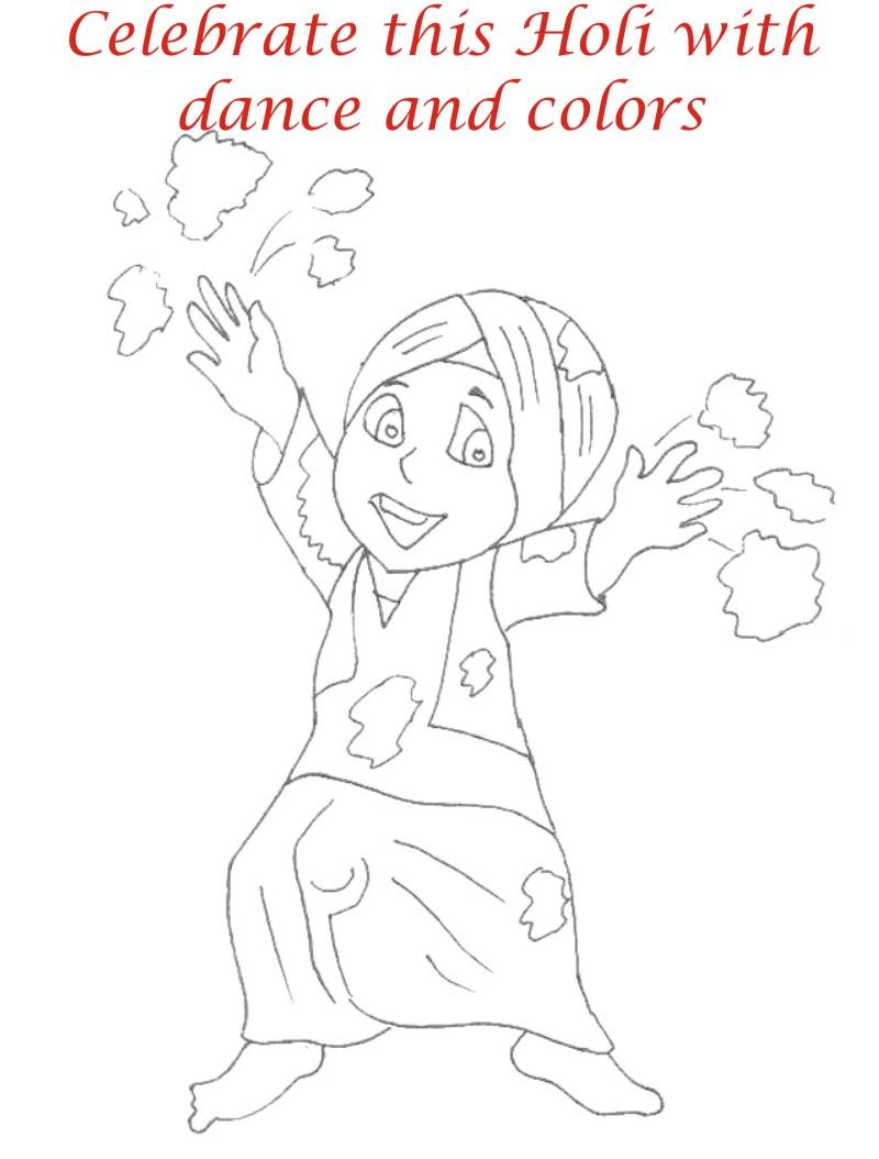 Holi coloring printable pages for kids 2 Holi Pictures For Colouring