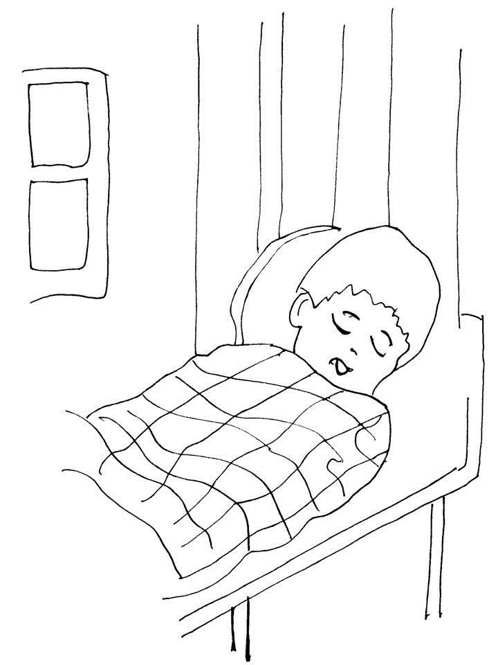 sleeping bed colouring pages