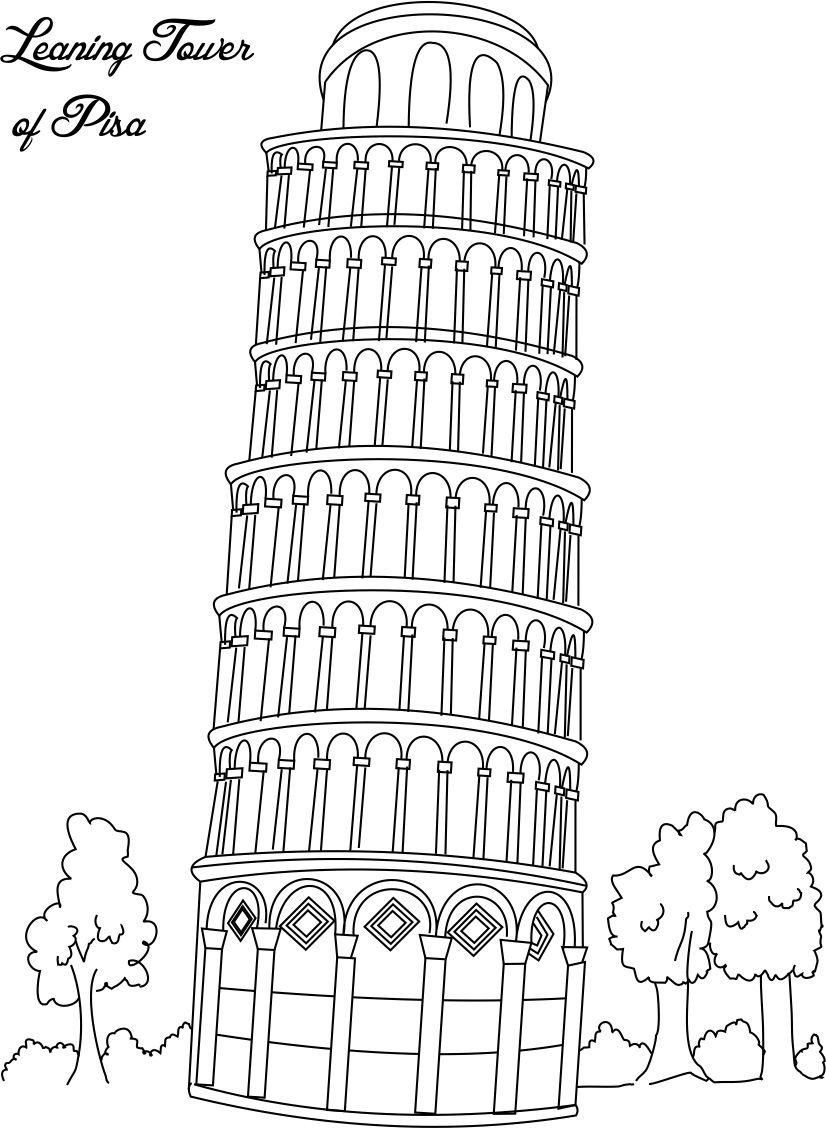 Leaning Tower Of Pisa Coloring Page For Kids