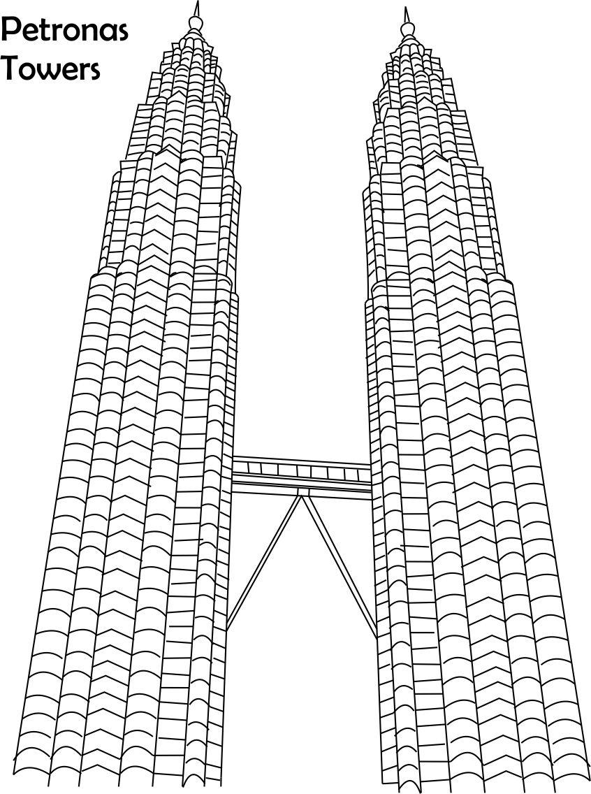 Petronas Towers Coloring Page For Kids Pages Of Great