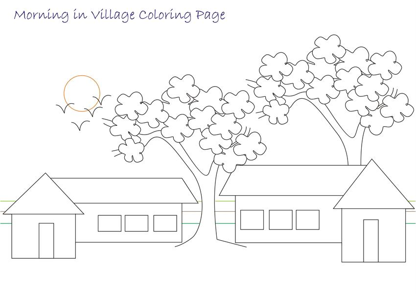 The gallery for village scenery drawing for children for Scenery coloring pages