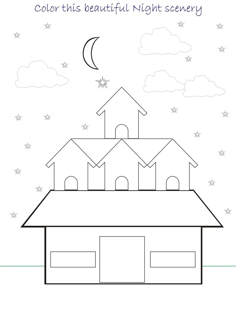 kids coloring pages scenery hill - photo#41