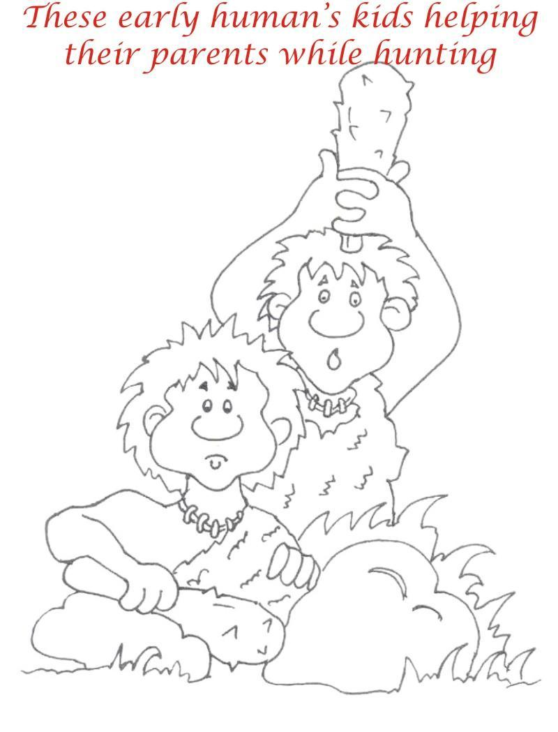 Early Human Coloring Pages Sketch Page
