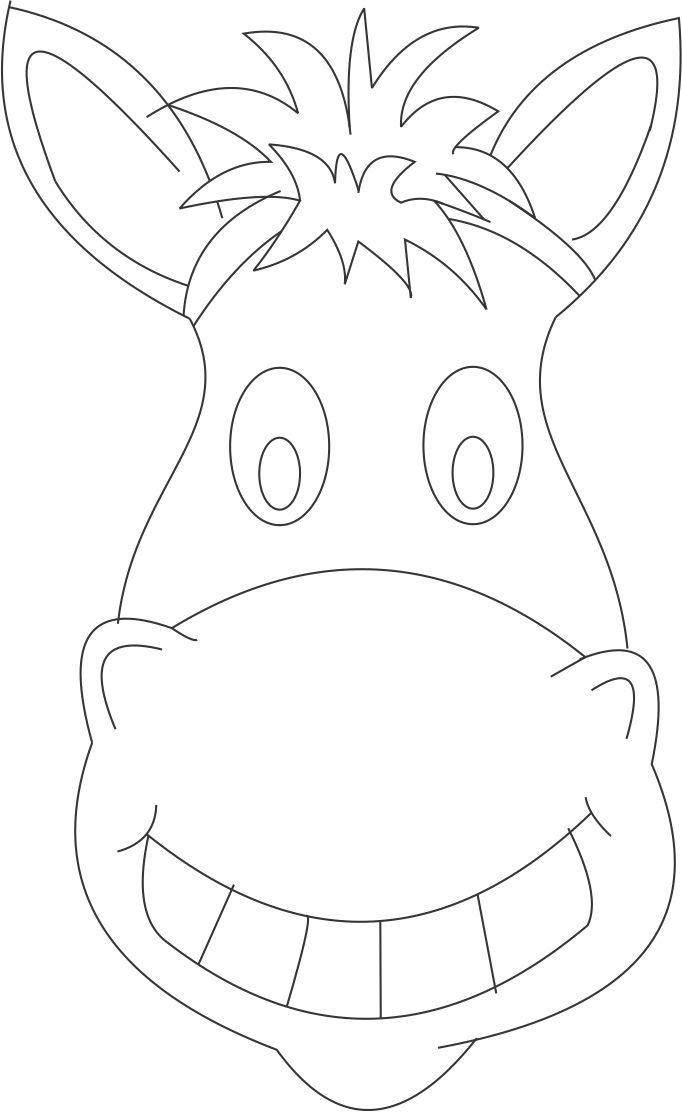 Horse mask printable coloring page for kids for Donkey face mask template