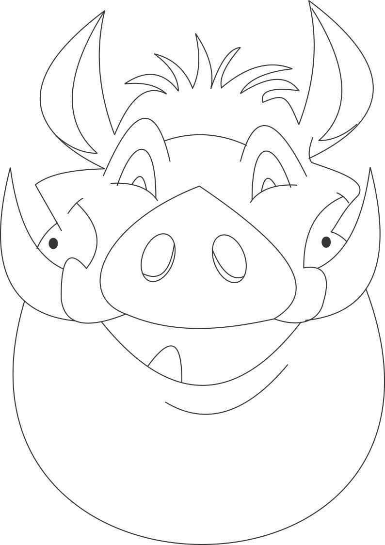 Timon mask for Lion mask coloring page
