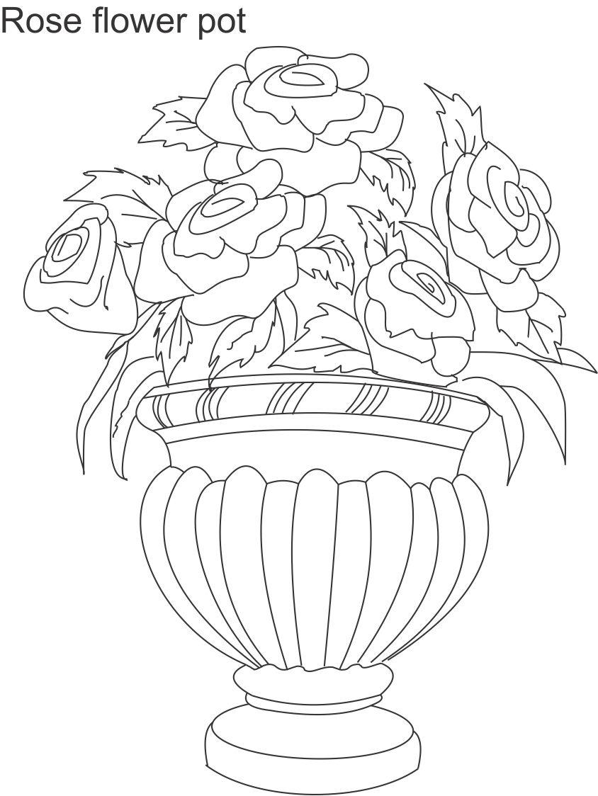 how to draw flowers in a vase