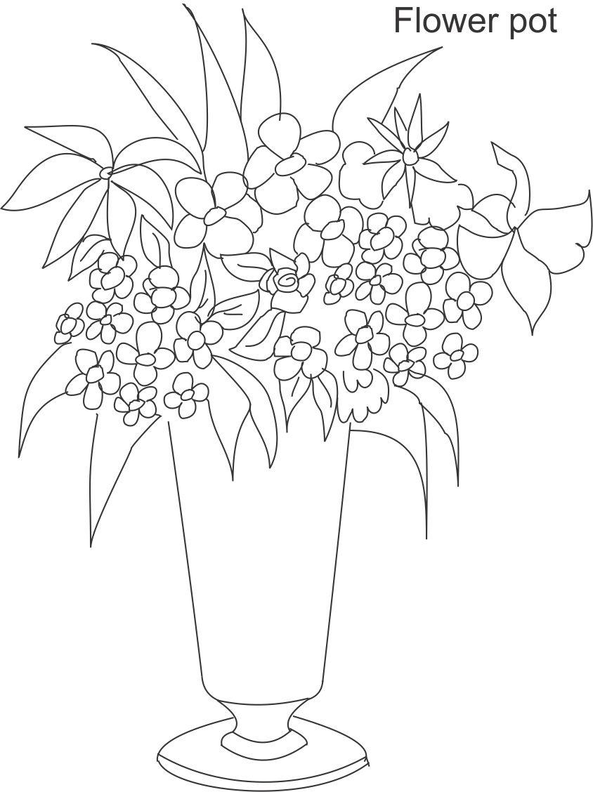 Flower Pot Coloring Page Coloring Coloring Pages