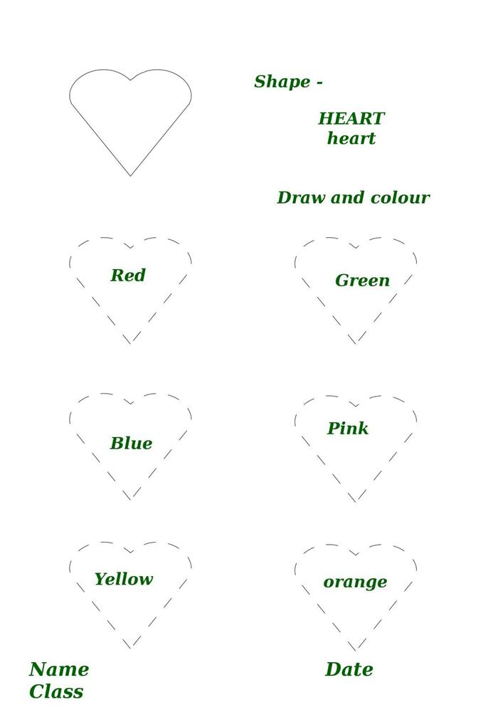 Free coloring pages of heart shape worksheets
