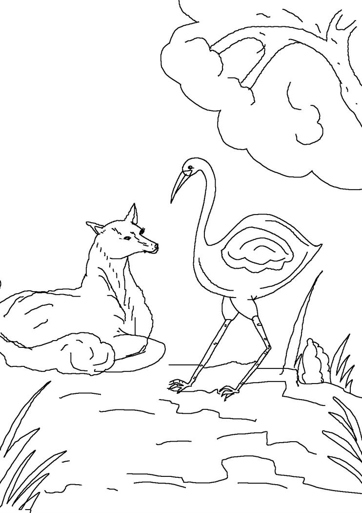 template of a fox - the fox and stork sheet coloring pages
